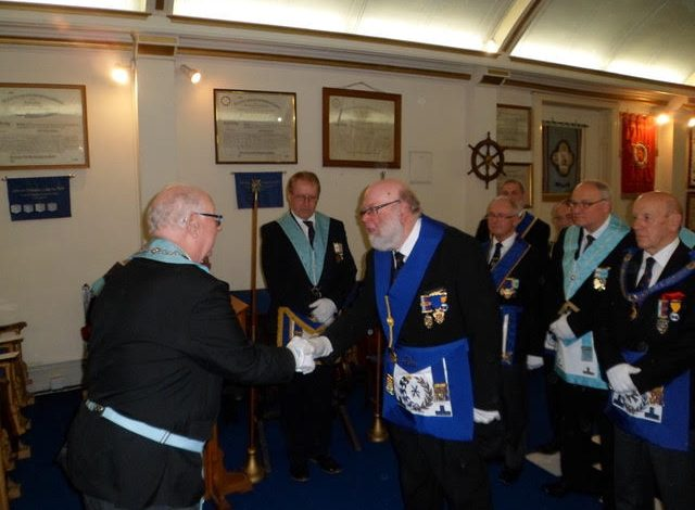 Photo of Somerset Masters Lodge deliver Travelling Trowel to Gordano Lodge